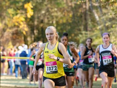 Denton Guyer's Brynn Brown races to victory at the Nike Cross Nationals South Regional on Saturday, Nov. 23, 2019 in The Woodlands.