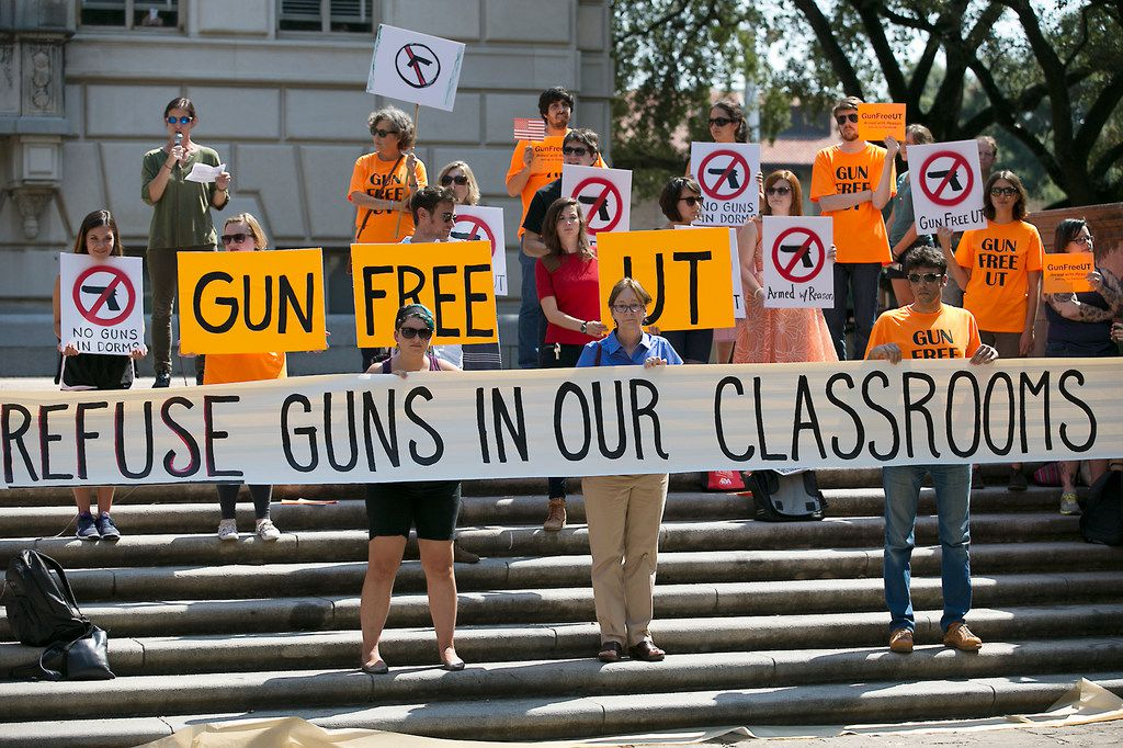 Protests against Texas' law allowing concealed carry of handguns on college campuses went on for more than a year before its implementation in August 2016. Since the law went into effect, three University of Texas at Austin professors have been trying to stop it through a suit alleging the law violates their rights. Their latest appeal was rejected Thursday.