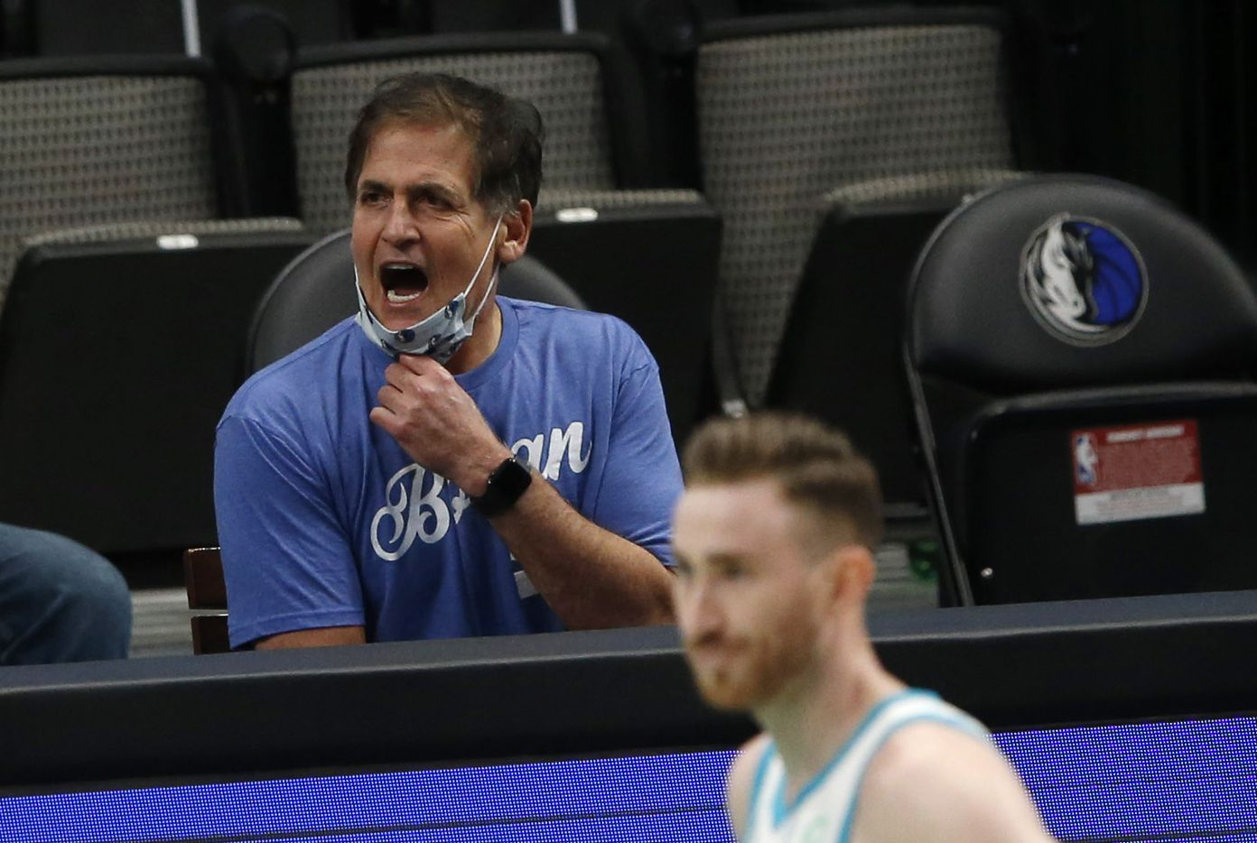 Dallas Mavericks owner Mark Cuban questions a call as they play the Charlotte Hornets during the third quarter of play in the home opener at American Airlines Center on Wednesday, December 30, 2020 in Dallas. (Vernon Bryant/The Dallas Morning News)