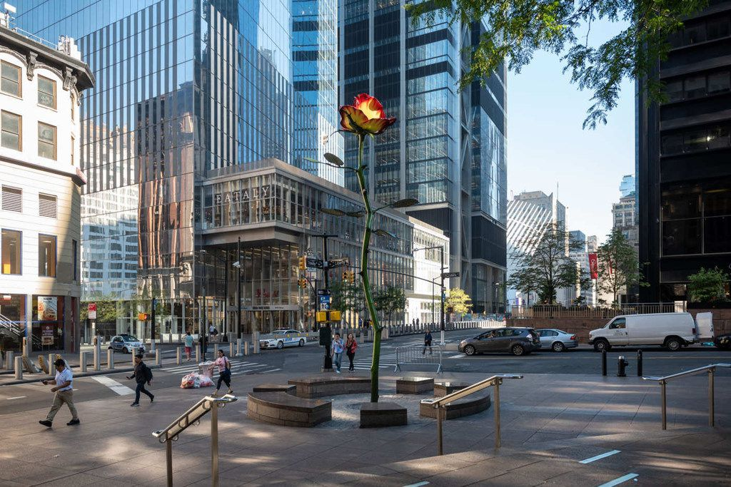 Rose III, (2016) is located in Zuccotti Park, a few blocks from the World Trade Center and the 9/11 Memorial in lower Manhattan, New York, N.Y.  The Nasher Sculpture Center named German artist Isa Genzken as the recipient of the 2019 Nasher Prize, which honors a living artist who elevates the understanding of sculpture and its possibilities.