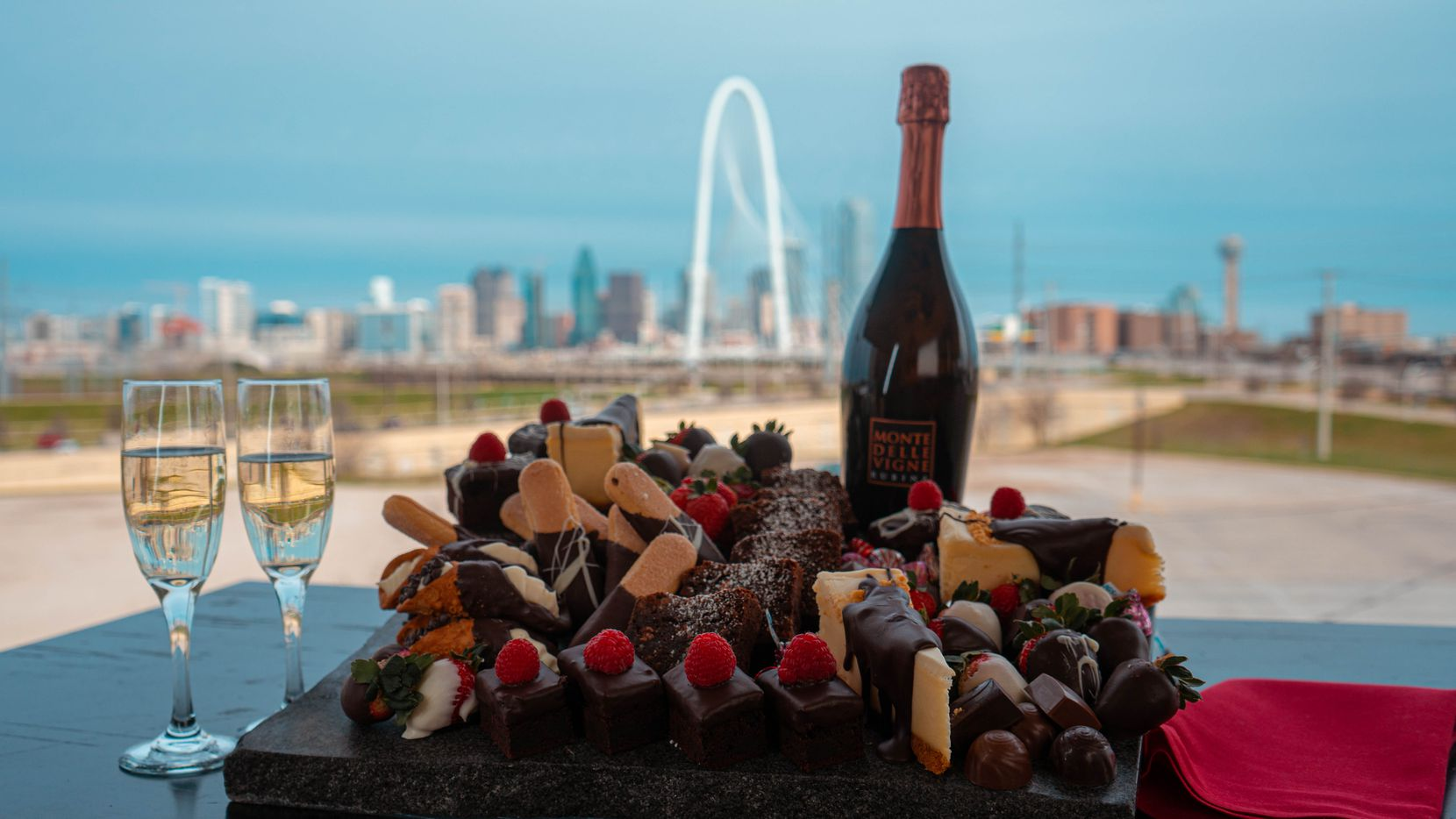 For Valentine's Day, Saint Rocco's is hosting Love on the Rooftop, where couples can indulge in Champagne and chocolate pairings while admiring the Dallas skyline.