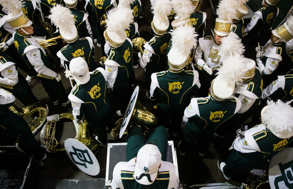 Members of the Baylor Bears band wait in the tunnel before an NCAA football game between Baylor University and Oklahoma University on Saturday, November 16, 2019 at McLane Stadium in Waco, Texas.