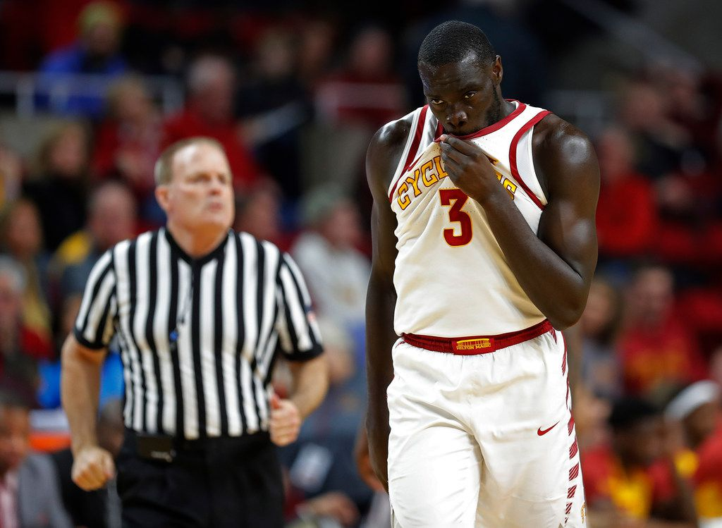 Iowa State guard Marial Shayok walks to the other side of the court after a foul on Baylor during the second half of an NCAA college basketball game, Tuesday, Feb. 19, 2019, in Ames, Iowa. Baylor won 73-69. (AP Photo/Matthew Putney)