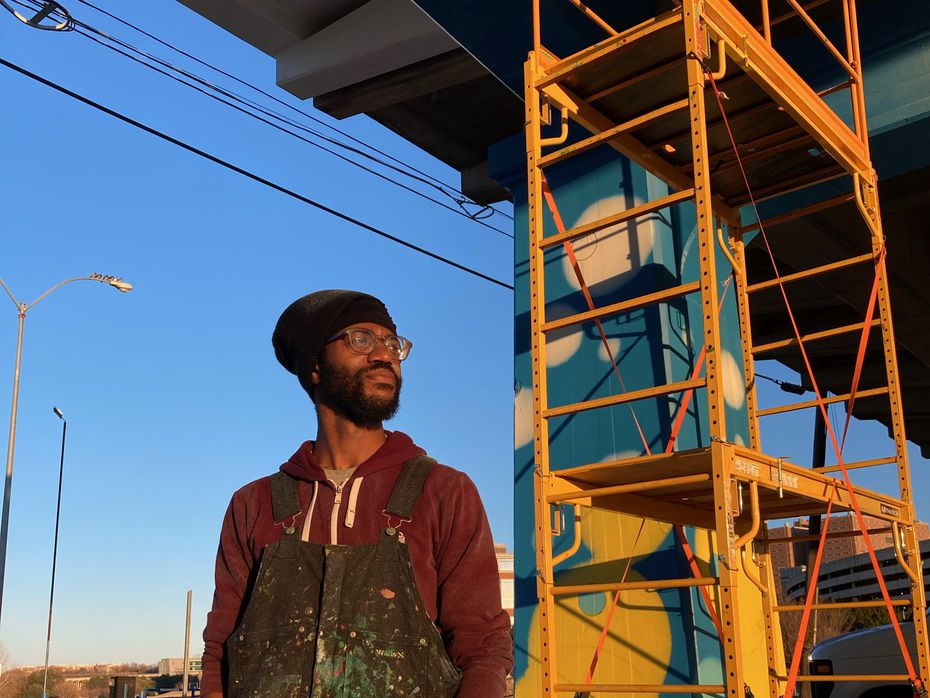 Artist JD Moore says he's spent between 150 and 200 hours working on his volunteer project to paint the Trinity River Pillars at 524 N. Henderson St. in Fort Worth. He says the mural is 80% complete.