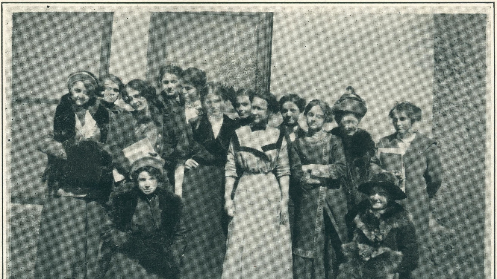Members of the Equal Suffrage League are seen in a photo from a 1912 yearbook for West Texas State Normal College, now known as West Texas A&M University. That year, the League sponsored an on-campus debate between female students that was interrupted by young men who thought suffrage would lead to children being neglected.
