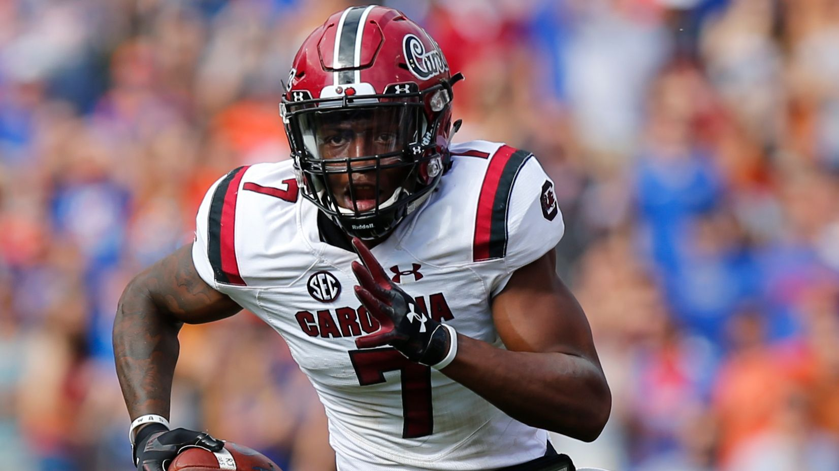 South Carolina Gamecocks defensive back Jaycee Horn (7) runs with the ball during the game between the South Carolina Gamecocks and the Florida Gators on November 10, 2018 at Ben Hill Griffin Stadium at Florida Field in Gainesville, Fl.