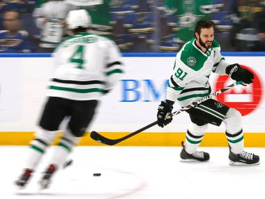 Dallas Stars center Tyler Seguin (91) skates during warmups before their game against the St. Louis Blues at the Enterprise Center in St. Louis, Tuesday, May 7, 2019. The teams were playing in the Western Conference Second Round Game 7 of the 2019 NHL Stanley Cup Playoffs.