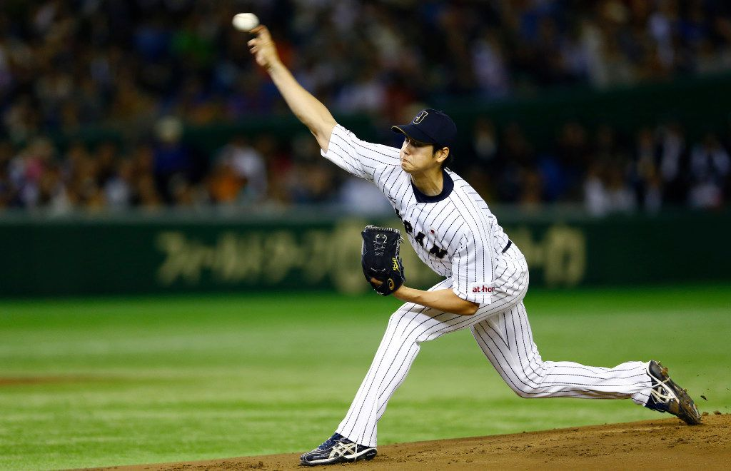 Japan s starter Shohei Otani pitches against South Korea during the first inning of their semifinal game at the Premier12 world baseball tournament at Tokyo Dome in Tokyo, Thursday, Nov. 19, 2015. (AP Photo/Shizuo Kambayashi) Japan   s starter Shohei Otani pitches against South Korea during the first inning of their semifinal game at the Premier12 world baseball tournament at Tokyo Dome in Tokyo, Thursday, Nov. 19, 2015. (AP Photo/Shizuo Kambayashi) ORG XMIT: TTX104