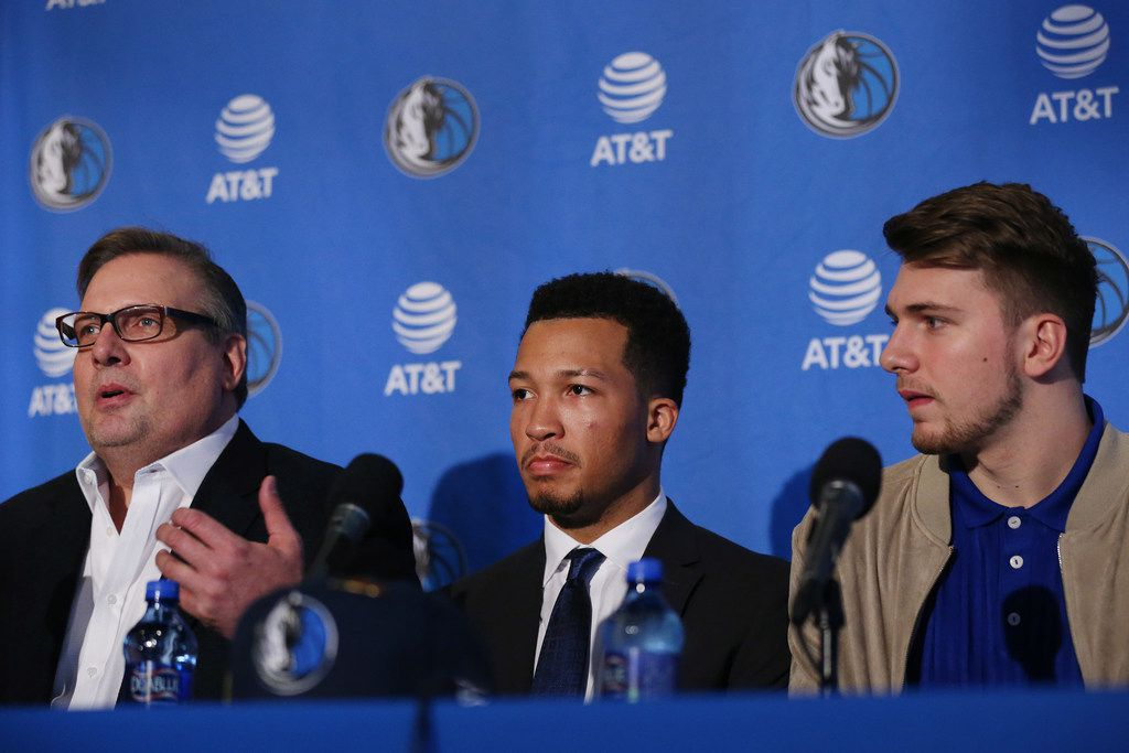 Dallas Mavericks general manager Donnie Nelson (left) speaks while he introduces Jalen Brunson (center) and Luka Doncic (right) at the American Airlines Center in Dallas Friday June 22, 2018. Doncic was drafted by the Atlanta Hawks with the third overall pick of the 2018 National Basketball Association draft and traded for the Dallas Mavericks fifth overall draft pick Trae Young.