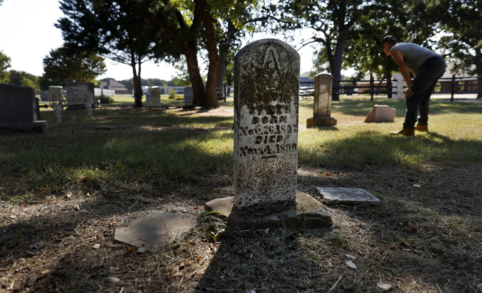Old gravestones from the 19th century are part of the historic Lonesome Dove Cemetery in Southlake, Texas,