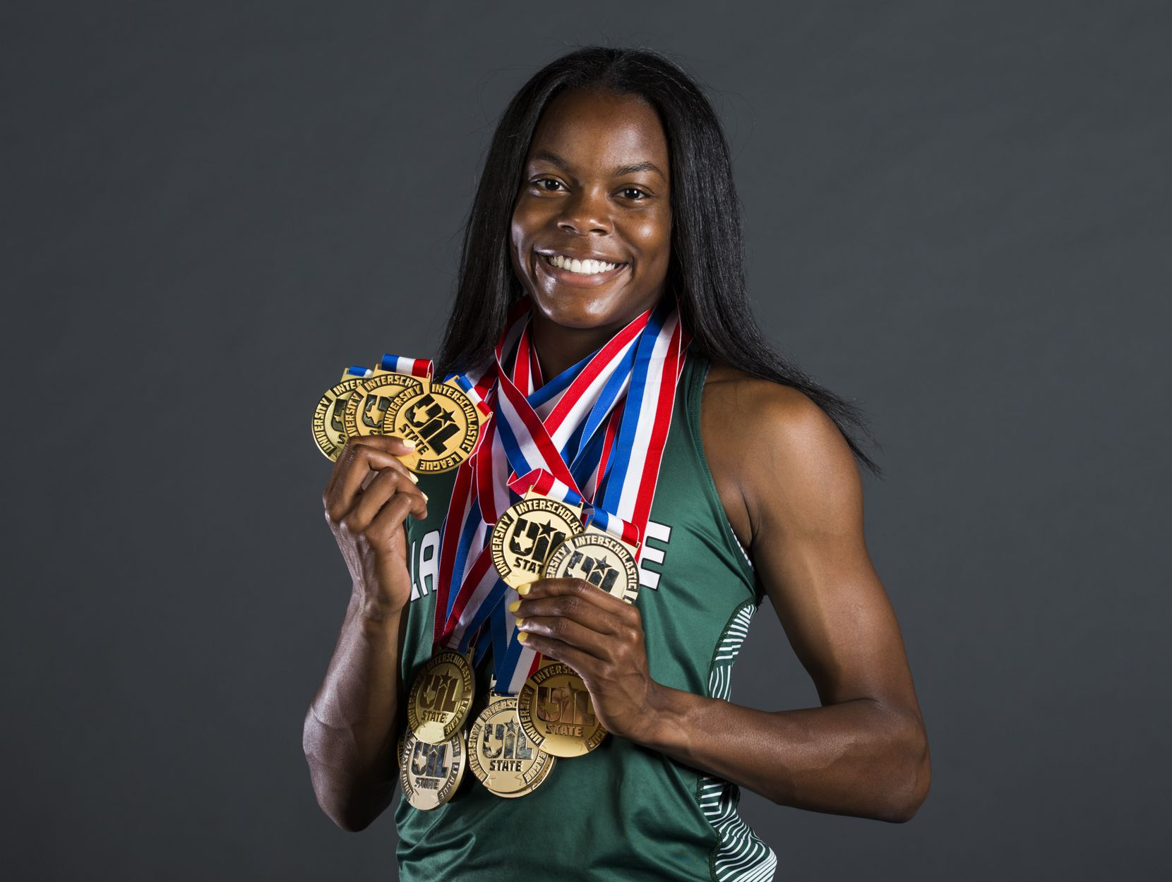 Mansfield Lake Ridge senior Jasmine Moore poses for a portrait at The Dallas Morning News on Friday, May 24, 2019. Moore won UIL Class 6A state titles in long jump and triple jump. In triple jump, she broke the state and national high school record. She's won 14 UIL state medals in her high school career.