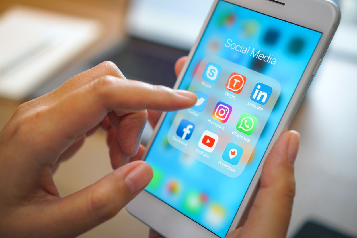 A smartphone with social media applications.