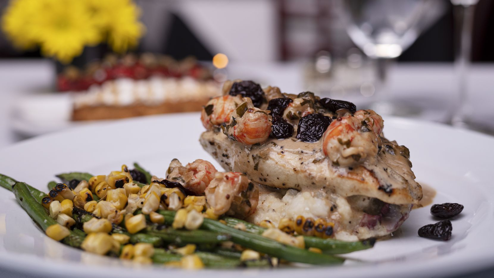 Grilled turkey breast with langoustine tails and cognac sauce and served with roasted vegetables is on the Christmas menu at Gorji Restaurant this year.