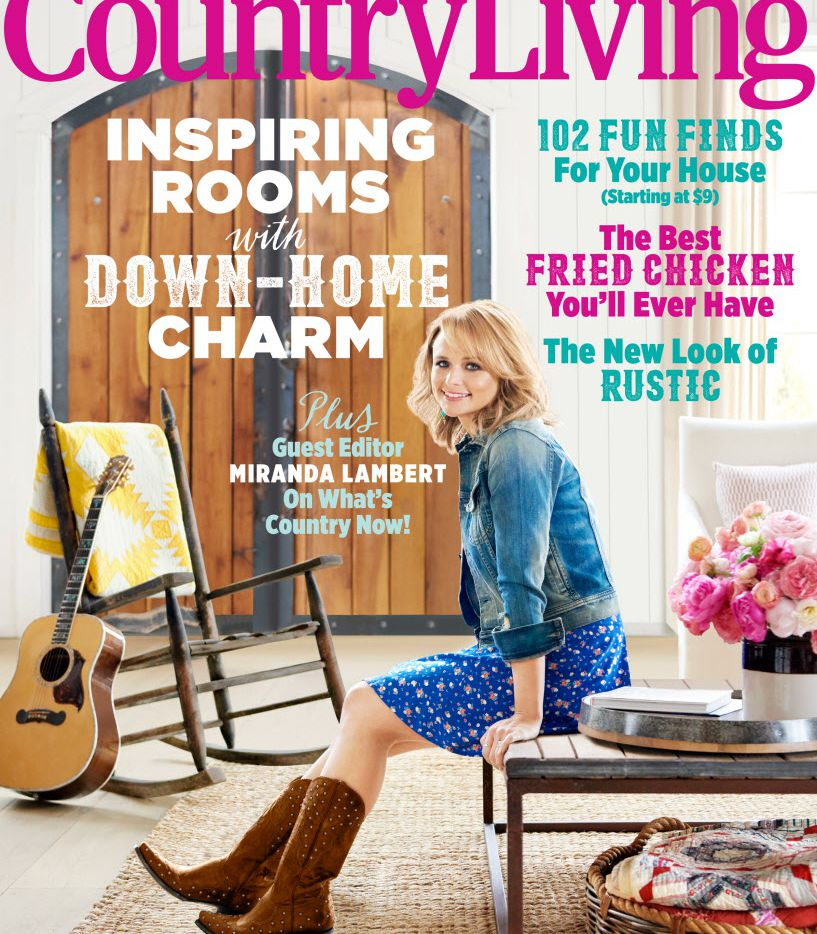 This magazine cover image released by Country Living shows the June 2015 issue featuring country singer Miranda Lambert. The home and lifestyle magazine says it has never featured a person on its cover in the 36 years of its existence. The issue explores how country music influences country style.