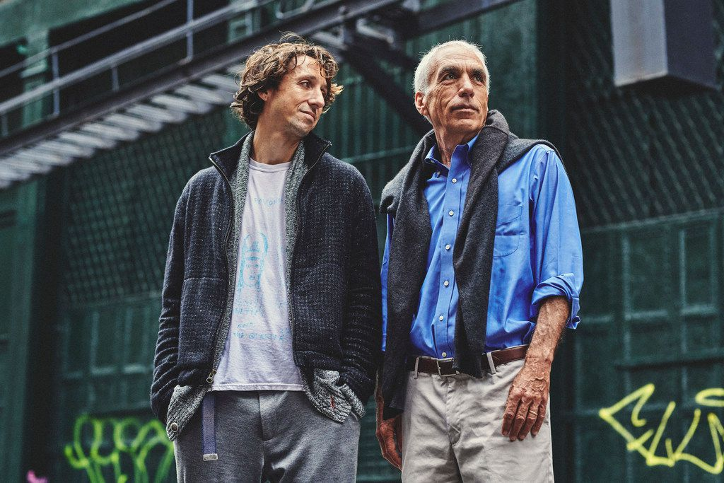 Nic Sheff and his father David, whose separate memoirs recounting Nic's battle with drug addiction have been adapted into the new film Beautiful Boy, in Manhattan,  Sept. 11, 2018