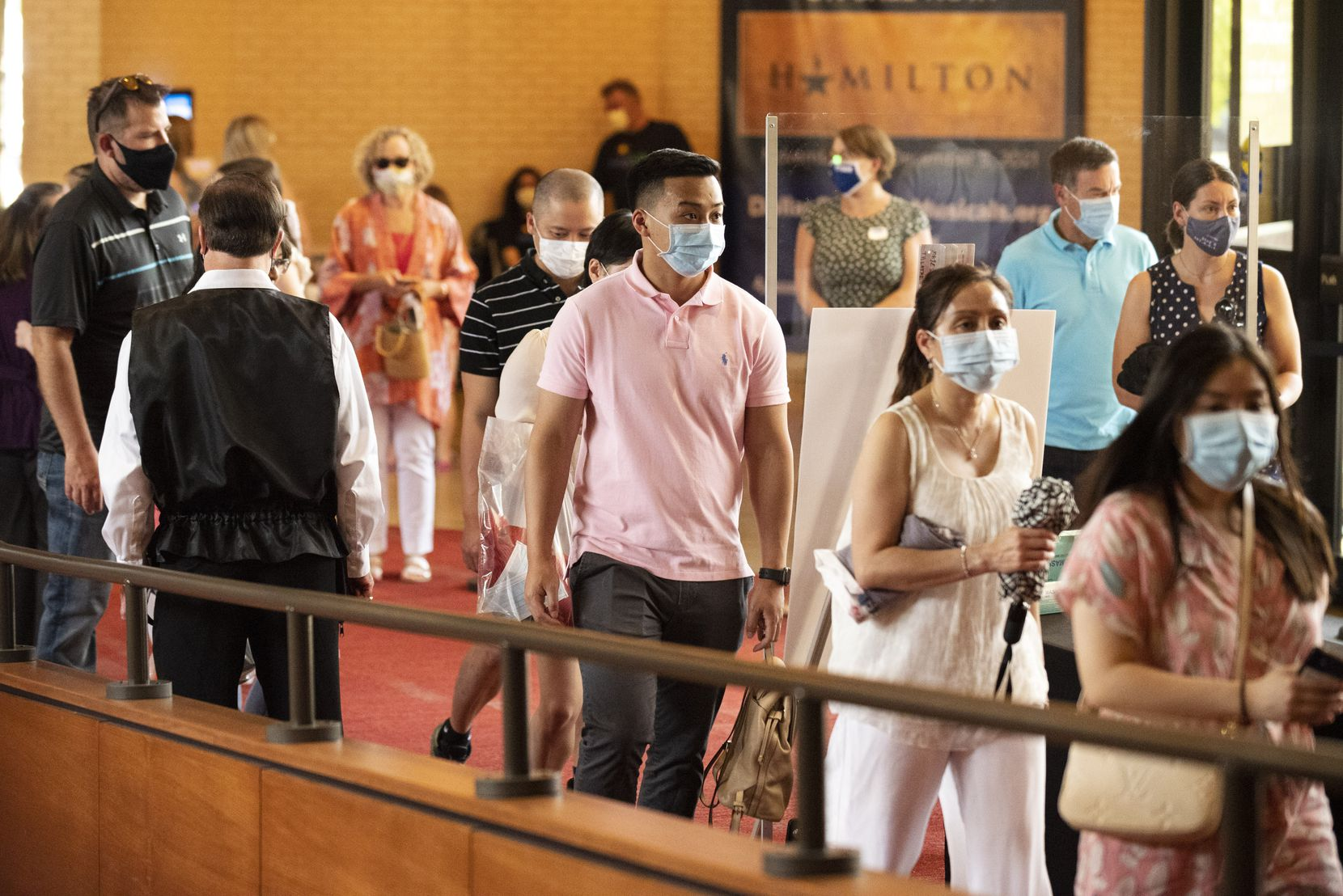 """Attendees were required to wear face masks to see a dress rehearsal of """"Wicked"""" in the Music Hall at Fair Park on Sunday in Dallas. The show is hosted by Dallas Summer Musicals."""