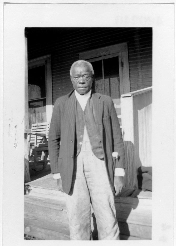 "William Moore, a former slave shown here in Dallas in 1937, told his interviewer horror stories of being bullwhipped until blood would ""red up the ground."" This photo is from a collection of portraits of ex-slaves by the Works Progress Administration, as part of the Federal Writers' Project slave narratives collection."