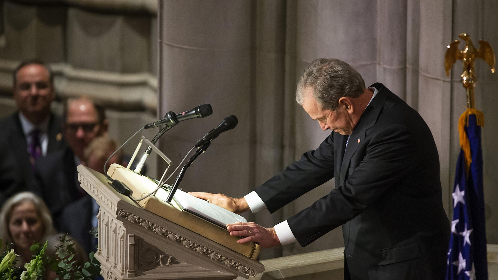 Former President George W. Bush composed himself as he delivered a eulogy for his father Wednesday in Washington.