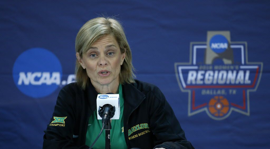 Baylor Coach Kim Mulkey speaks during a press conference at American Airlines Center in Dallas, Friday, March 25, 2016. (Jae S. Lee/The Dallas Morning News)