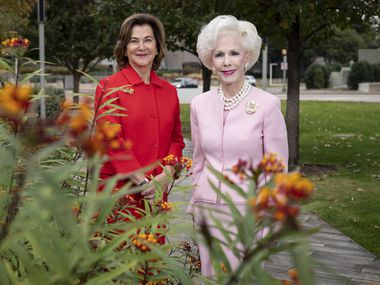 Nancy Best (left) and Sheila Grant stand near the location where a new $10 million interactive fountain will be built at Klyde Warren Park in Dallas.