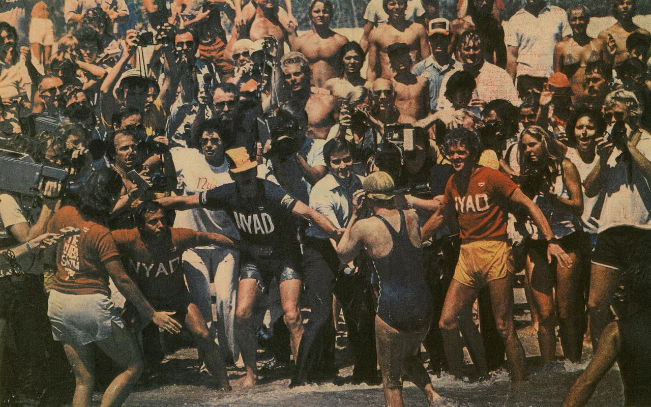 In 1979, Nyad walks onto the beach in Jupiter, Fla., after swimming from the Bahamas.
