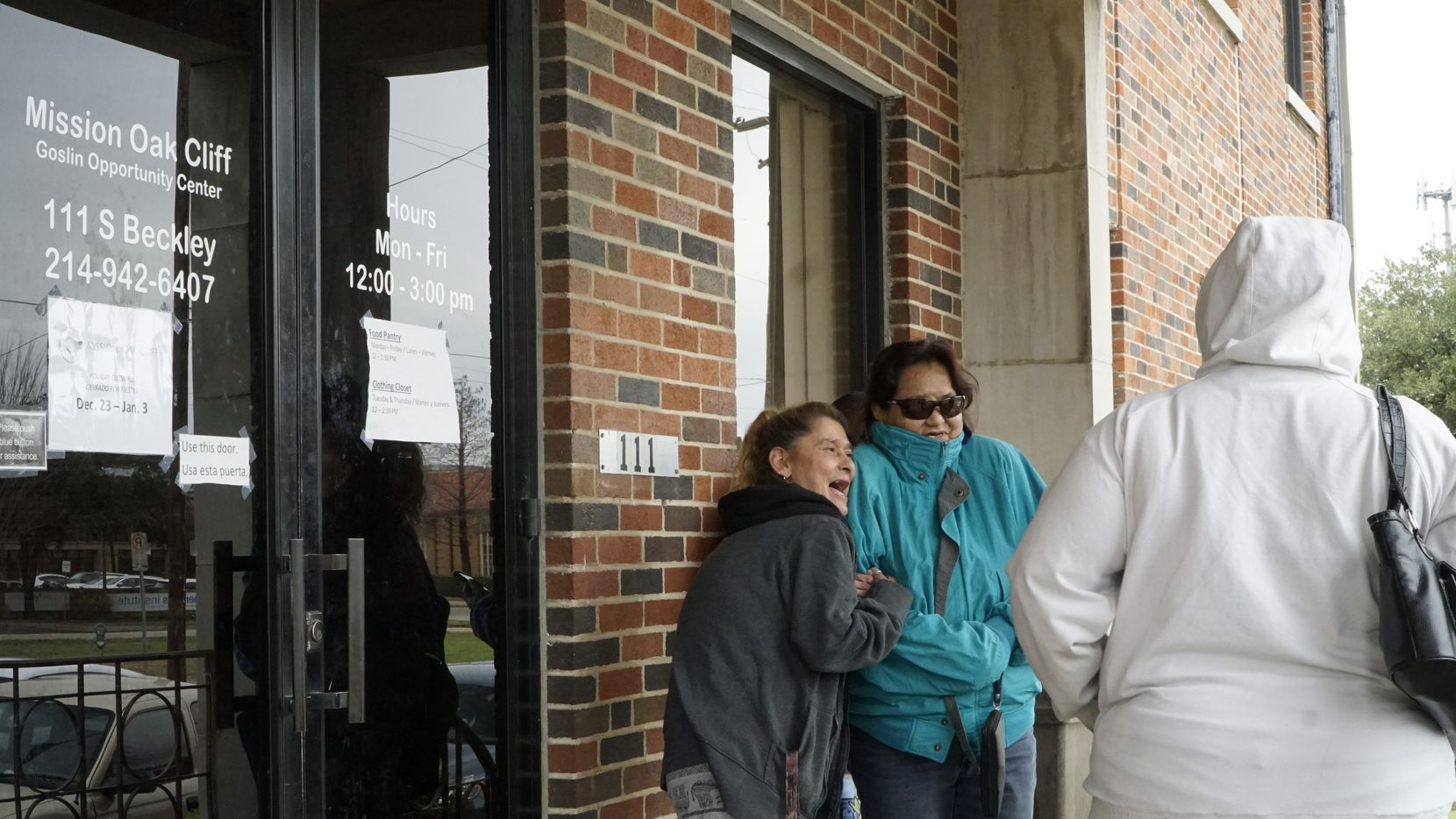 Suzette Huffman, Kateri Marcias and Debby Hall wait for the doors to open at Mission Oak Cliff in Dallas on Dec. 10.
