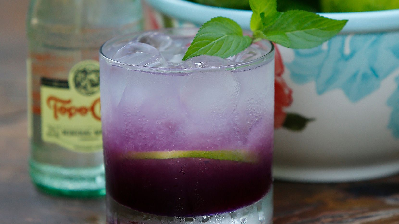 Butterfly Ranch Water made with tequila and garnished with mint