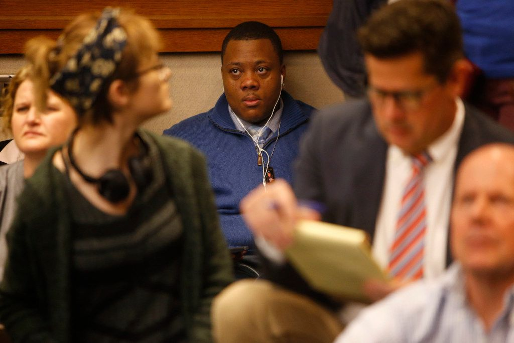 Trenton Johnson, a transgender man, waits to give a testimony in the overflow room as members of the Senate State Affairs Committee debate and hear public testimony of Senate Bill 6, the transgender bathroom bill, at the Texas State Capitol in Austin on Tuesday, March 7, 2017. The bill would bar transgender people from using the restrooms, locker and changing rooms that correspond to their gender identity in public schools and government buildings. (Rose Baca/The Dallas Morning News)