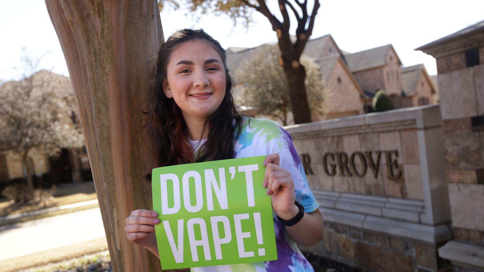 Micah Sánchez, de 16 años y residente de McKinney, es una embajadora contra el uso del tabaco y el vaping para Texas Say What, una organización de prevención.