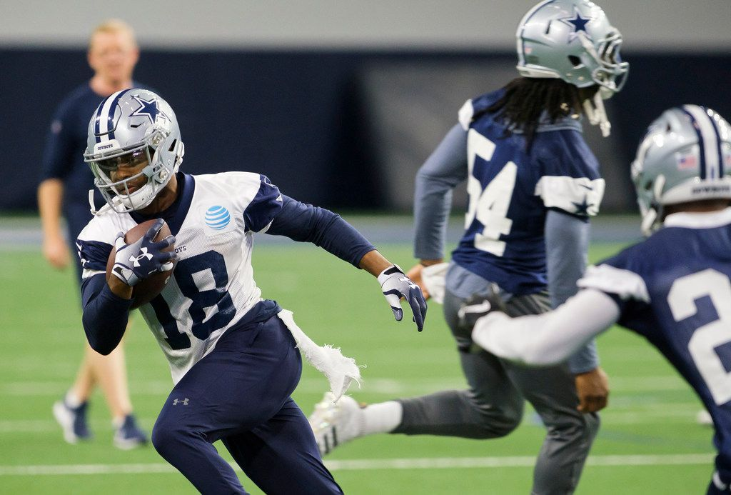 Dallas Cowboys wide receiver Randall Cobb (18) runs after a catch during a team OTA practice at The Star on Wednesday, June 5, 2019, in Frisco. (Smiley N. Pool/The Dallas Morning News)