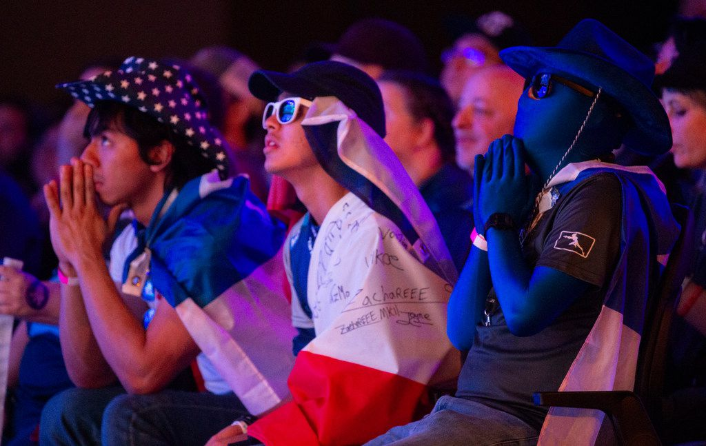 Fans watch the Dallas Fuel during the season three opening weekend match of the Overwatch League against the San Francisco Shock on Feb. 9, 2020 at the Esports Stadium in Arlington. The Fuel lost 3-1. (Juan Figueroa/ The Dallas Morning News)