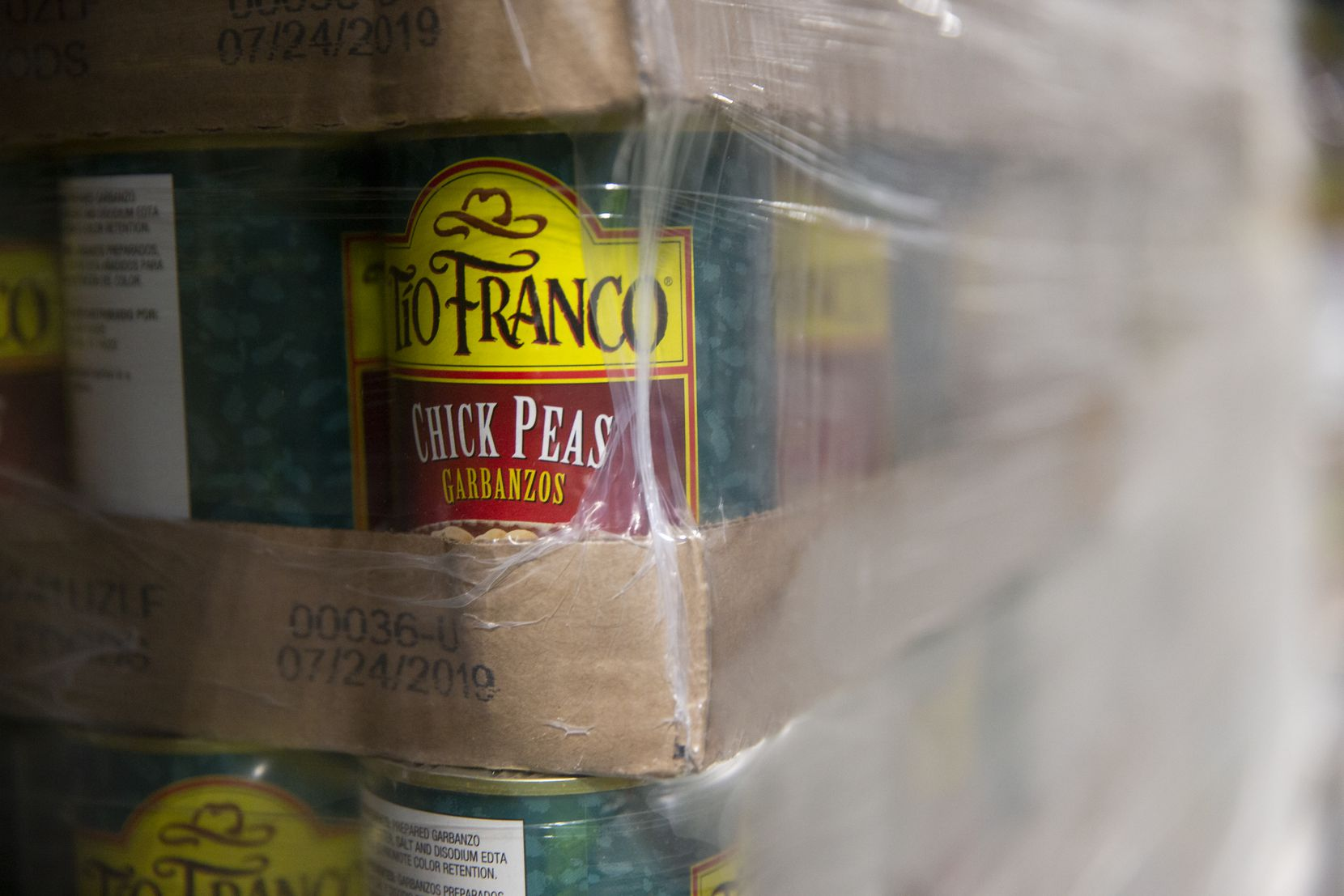 A pallet of chick peas, or garbanzo beans, supplied by the USDA at the North Texas Food Bank on Feb. 6, 2020 in Plano.
