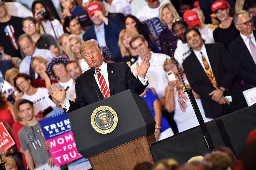 """President Donald Trump held a """"Make America Great Again"""" rally in Phoenix on Tuesday. (Nicholas Kamm/Agence France-Presse)"""