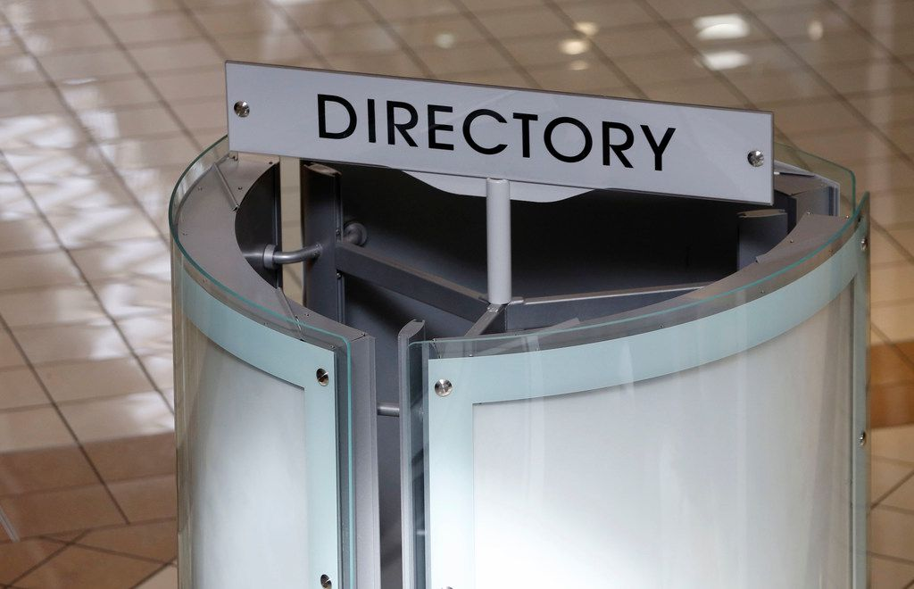 A blank directory at Collin Creek Mall in Plano, Texas on Wednesday, February 13, 2019. 2018 was Collin Creek's final Christmas. The mall's new owner plans to redevelop the property into a mixed-use development. (Vernon Bryant/The Dallas Morning News)