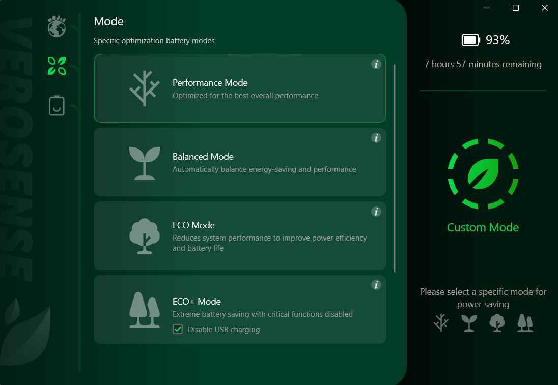 The VeroSense app lets the user choose from four Eco modes, some of which save a lot of energy.
