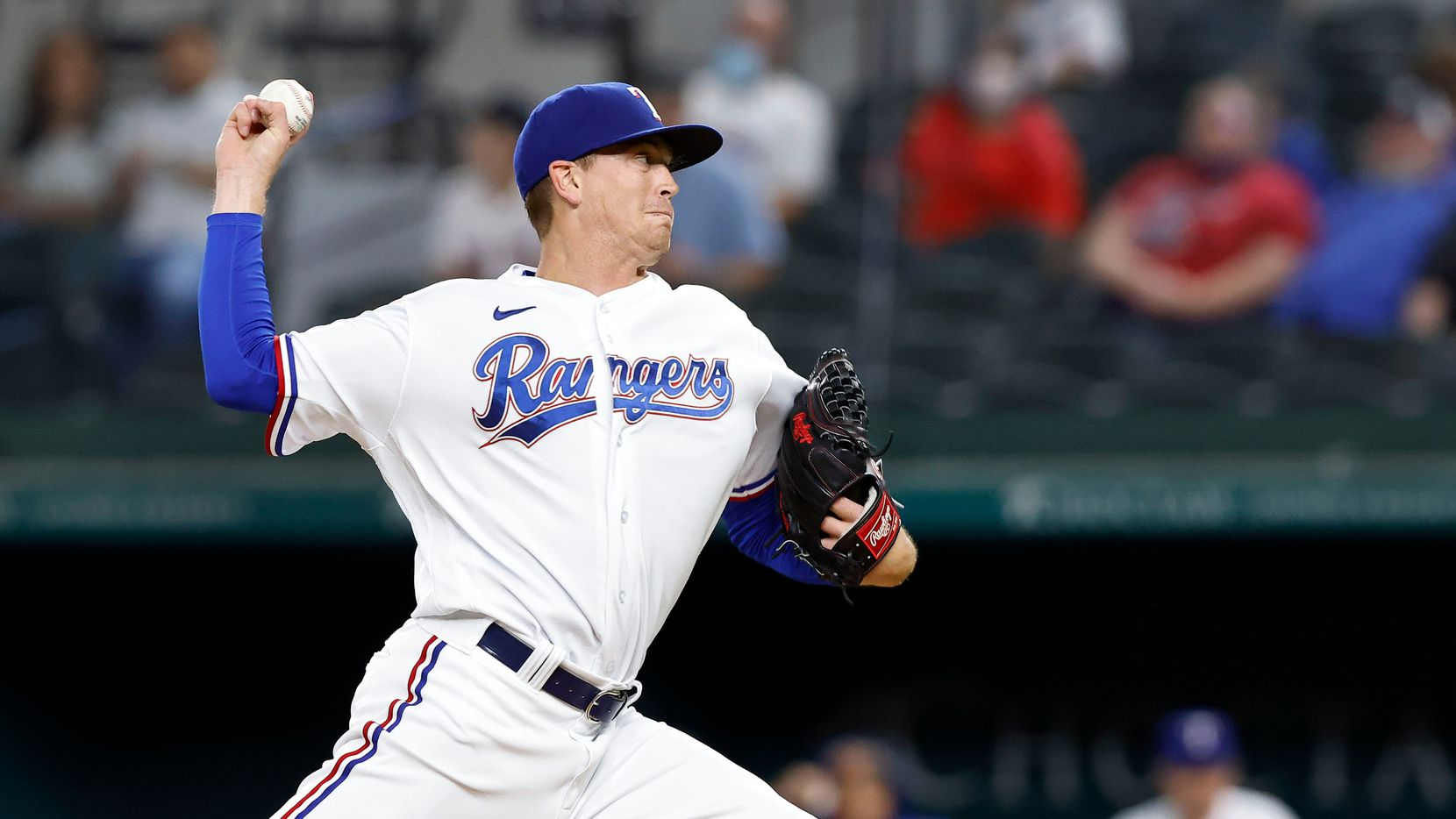 Texas Rangers starting pitcher Kyle Gibson (44) throws against the Boston Red Sox during the first inning at Globe Life Field in Arlington, Texas, Thursday, April 29, 2021. (Tom Fox/The Dallas Morning News)