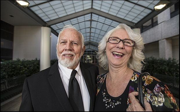 Dan and Fran Keller, after their conviction was vacated. The Travis County district attorney filed for their formal exoneration Tuesday. (Richard Brazziel/The Associated Press)