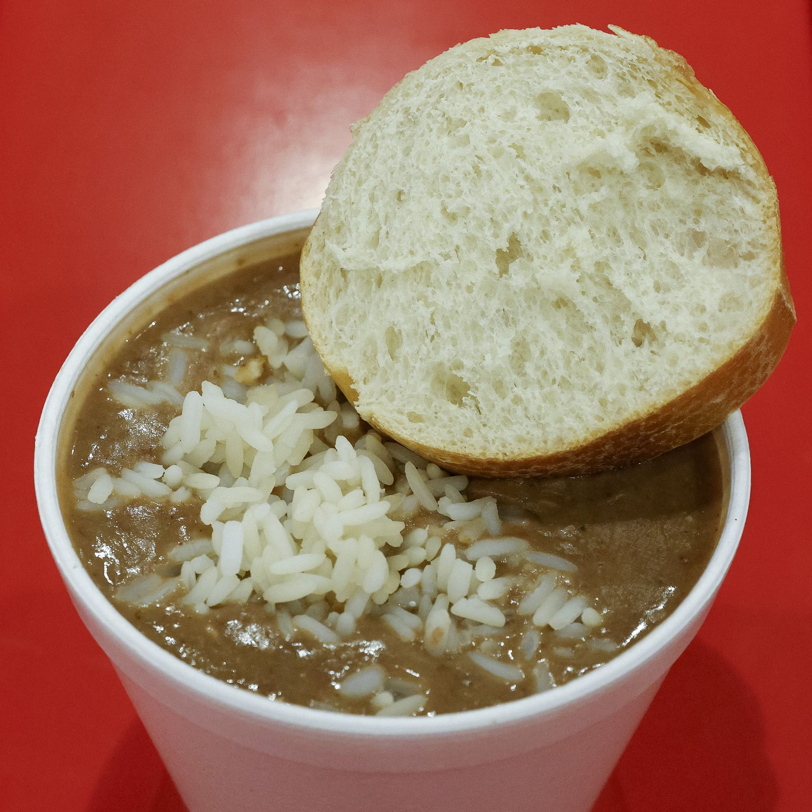 One vegan option is red beans and rice from Atnos Bayou Kitchen, a concession stand at the State Fair of Texas.