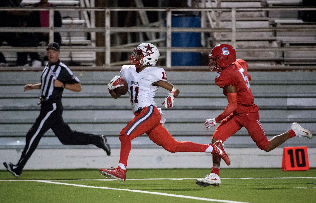 Coppell freshman kick returner KJ Liggins (11) breaks away from Skyline cornerback Martinez Hill (5) on a kickoff return for a touchdown in the first half of a high school football game on Friday, November 3, 2017 at Forester Field in Dallas. (Jeffrey McWhorter/Special Contributor)