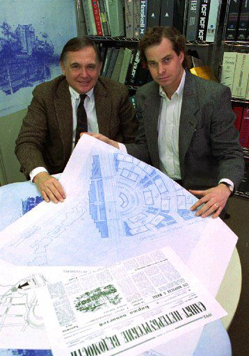 In this photo, taken in their Dallas office in 1993, architects Phillip Shepherd, left, and Chase Corker were reviewing blueprints for a Russian project.