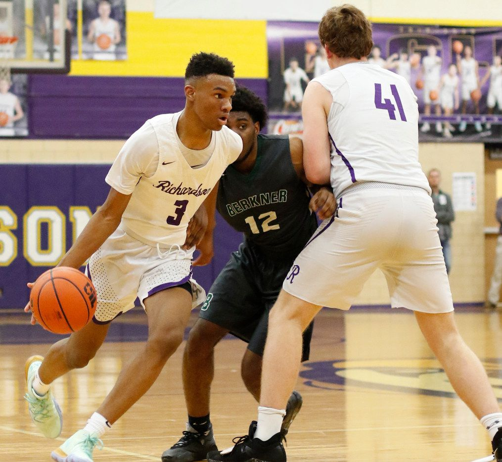 Richardson's Rylan Griffen (3) drives to the basket as Richardson's Gannon Parker (41) sets a screen on Richardson Berkner's Micah Law. Griffen scored 32 points in Richardson's 79-50 victory Friday. (Steve Hamm/ Special Contributor)