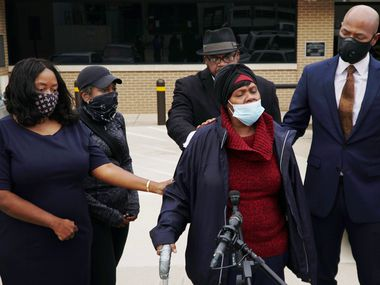 Rosie Johnson, mother of Fred Jackson, speaks addresses the news media at the Tarrant County medical examiner's office in Fort Worth on Tuesday, Dec. 22, 2020.