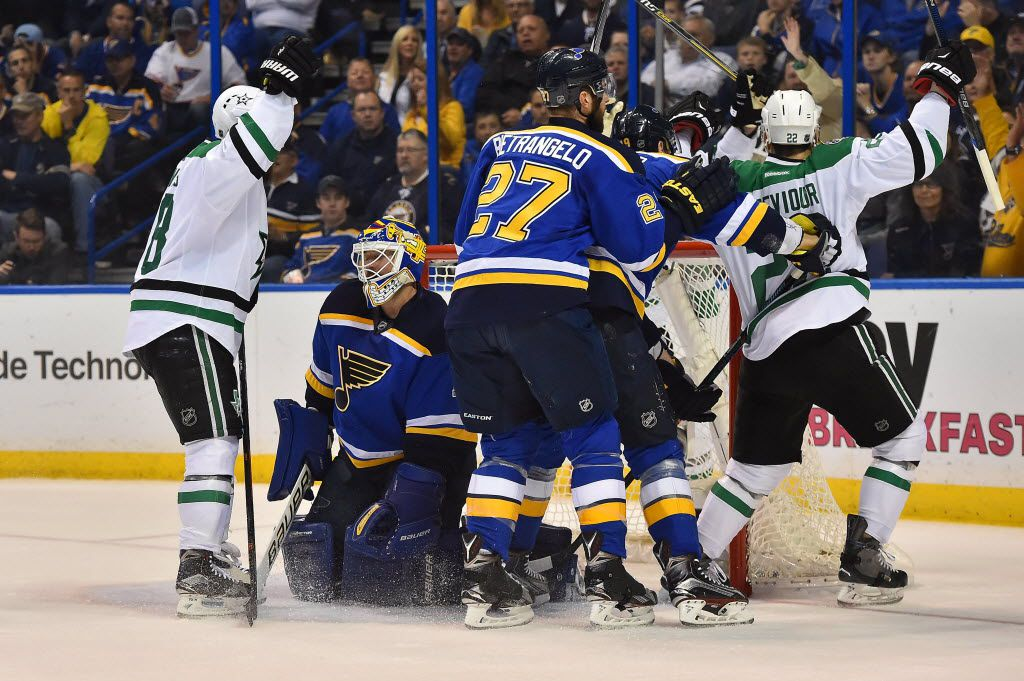 May 9, 2016; St. Louis, MO, USA; St. Louis Blues goalie Brian Elliott (1) reacts after allowing a goal scored by Dallas Stars center Jason Spezza (not pictured) during there first period in game six of the second round of the 2016 Stanley Cup Playoffs at Scottrade Center. Mandatory Credit: Jasen Vinlove-USA TODAY Sports