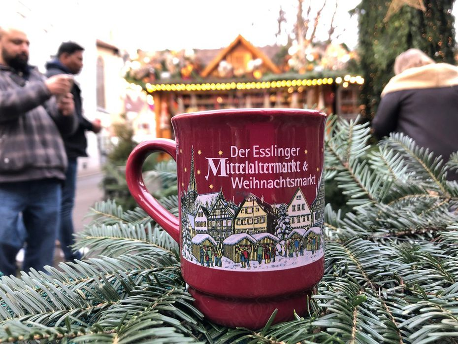 Many visitors to German Christmas markets like to collect the unique mugs available in different cities.