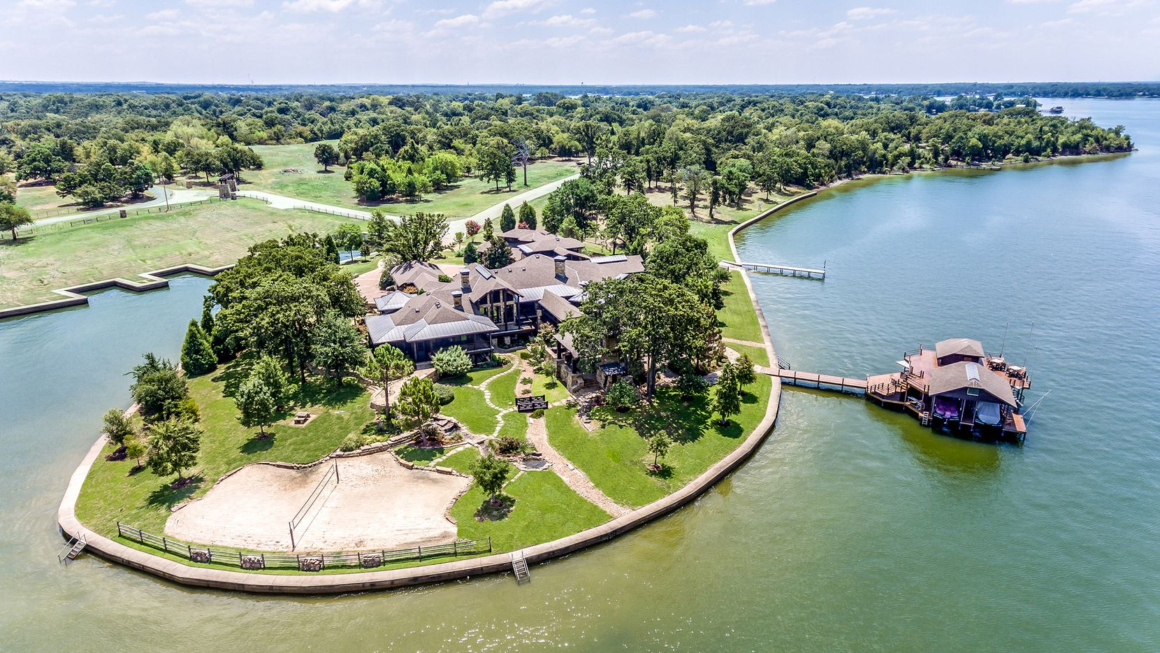 The 36-acre Cedar Creek Lake property at 4370 Palm in Malakoff is offered for $7,580,000.