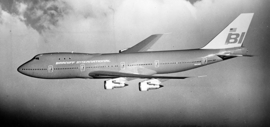 Archival photo of a Braniff International airplane