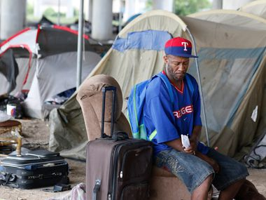 Ron Allen sits in the area where he had lived at the Coombs Encampment during the summer of 2016 before the city shut down the tent city. City officials cited safety concerns as the reason they took down the village under Interstate 45.