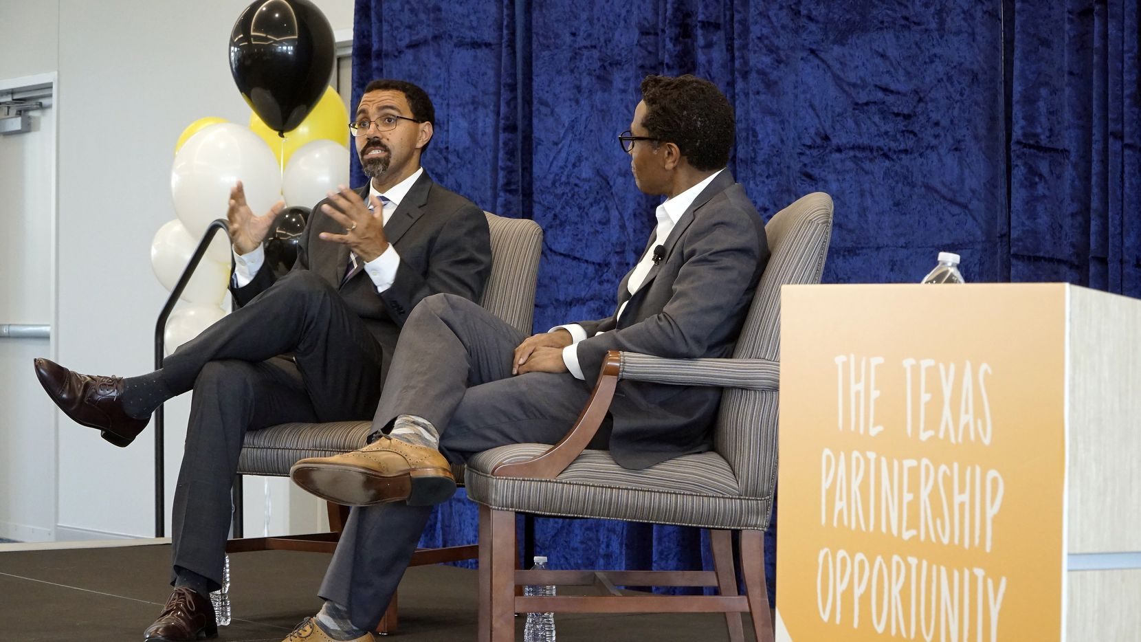 "Former U.S. Secretary of Education John B. King is interviewed by Jeremy Smith at ""The Texas Partnership Opportunity"" on the campus of Texas Wesleyan in Fort Worth, Texas on Thursday, October 10, 2019."