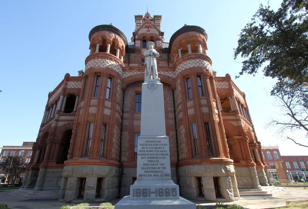 A Confederate statue at the Ellis County Courthouse dates to 1912