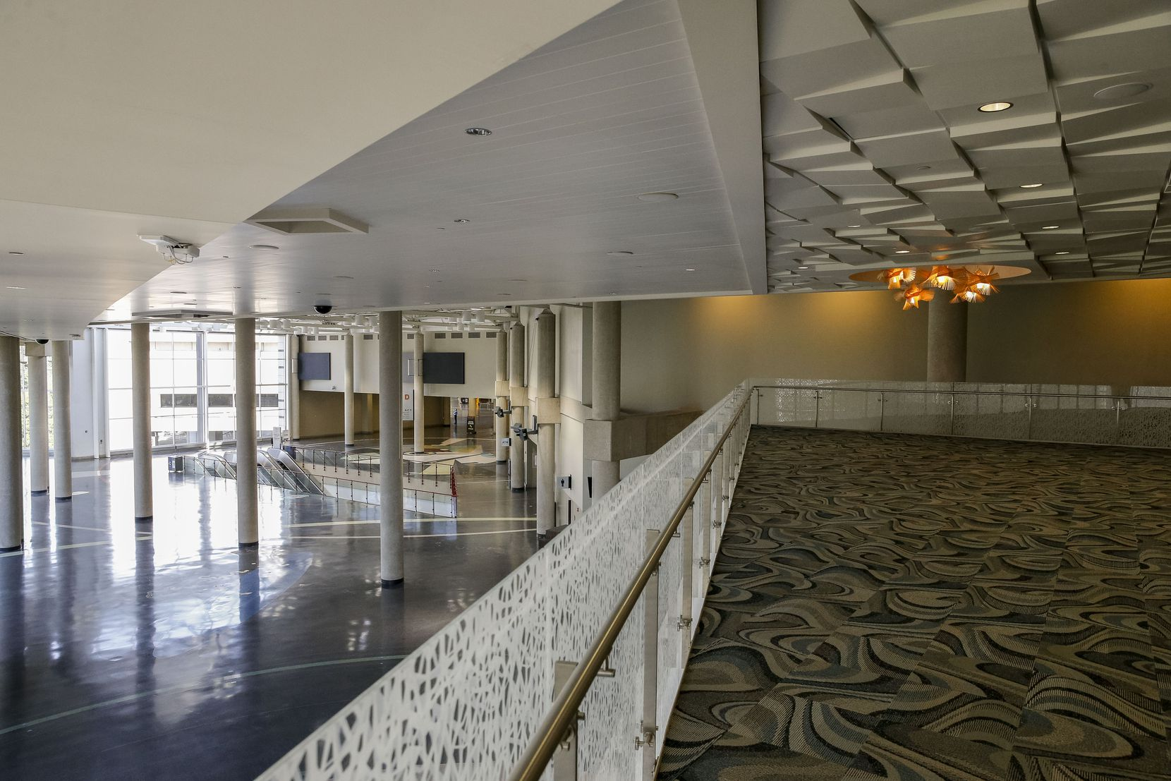 A view overlooking the lobby of exhibit hall D, part of a 2002 expansion, from level three at the Kay Bailey Hutchison Convention Center.